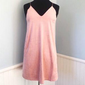 Faux Suede Mini Slip Dress in Dusty Rose Size S